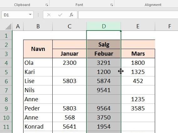 Flytte hele kolonner i Excel
