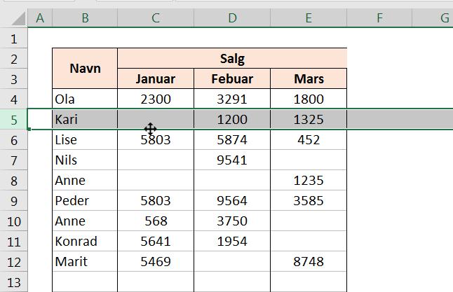 Link til artikkel om å flytte rader i Excel