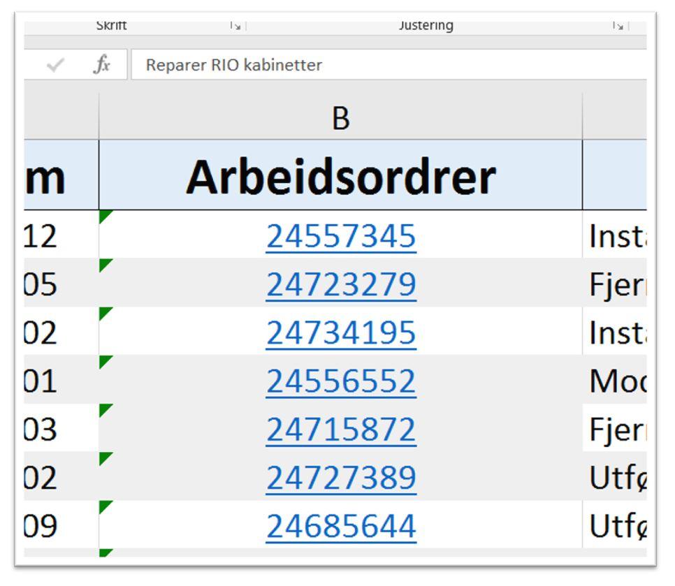Fjerne hyperkoblinger og internettlenker fra Excel Regneark