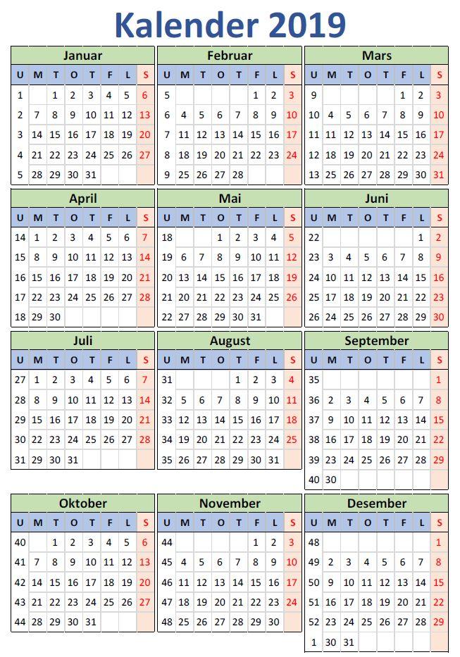 2019 Kalender. Opprette en kalender i Excel, 2019 versjonen.